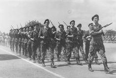"Portuguese Infantry ""Caçadores""on parade in Luanda, Angola 1961 - Colonial War"