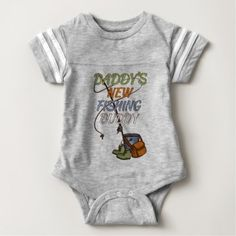 Cute Daddy's New Fishing Buddy Text Baby Bodysuit - newborn baby gift idea diy cyo personalize family