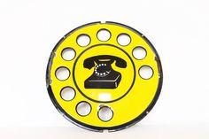 Vintage antique round enamel rotary telephone by AnnaLouVintage, $275.99