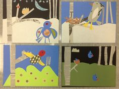 I like the idea of using newspaper in a collage. Mrs. Knights Smartest Artists: Bird collages, 3rd grade