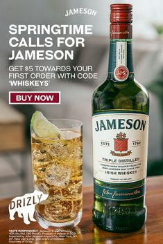 Springtime is best enjoyed with friends and maybe a lime wedge garnish! Get Jameson Whiskey delivered to your door with Drizly, and celebrate a smooth season with your mates. Cocktail Drinks, Fun Drinks, Yummy Drinks, Alcoholic Drinks, Cocktails, Beverages, Probiotic Drinks, Fruity Drinks, Jameson And Ginger