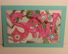 This is a 5x7 paper greeting card. Bright and colorful, it could be used for any occasion! I make the cards from copies of my fabric postcards. They are made of cardstock paper---the copied design comes out incredibly cool! You can see every stitch and fabric weave! (My photography does not do them justice!)  A white envelope is include with each card and will be packaged in a clear bag.  My cards are left blank so YOU can be creative! Each card will have a coordinating color insert inside…