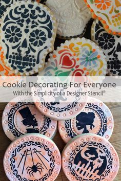 It's Cookie Decorating Season! Impress your guests or trick-or-treaters with a batch of decorated cookies. Stencils make it easy and with our instructions and how-to videos you will be an expert in no time. Halloween Pumpkins, Fall Halloween, Halloween Party, Cookie Recipes, Dessert Recipes, Yummy Recipes, Moroccan Desserts, Halloween Stencils, Fall Cookies