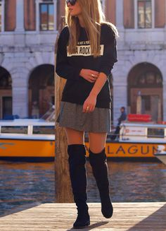 Black jumper gray short skirt, black high boots. women fashion outfit clothing style apparel @roressclothes closet ideas
