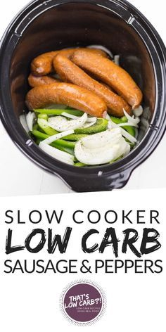 Crockpot Sausage and Peppers simmered together in the slow cooker for a easy low carb dinner. Crockpot Sausage and Peppers simmered together in the slow cooker for a easy low carb dinner. Crock Pot Recipes, Keto Crockpot Recipes, Slow Cooker Recipes, Diet Recipes, Crockpot Meals, Chicken Recipes, Slow Carb Recipes, Vegetable Crockpot Recipes, Crockpot Veggies