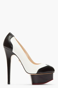 fea02995622 Charlotte Olympia Ivory Brogued Leather Dolly Spectator Pumps in White  (ivory)