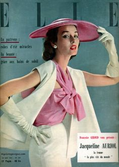 Dorian Leigh in a lovely spring ensemble on the cover of Elle magazine, May 1951. #vintage #fashion #1950s