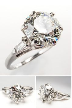 VINTAGE 2 CARAT IDEAL CUT DIAMOND ENGAGEMENT RING