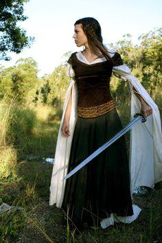 fantasy, fairytale, forest, maiden, sword, Rohan 4 by ~Chonastock