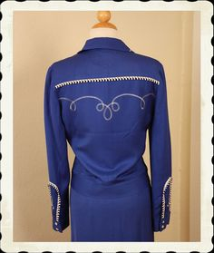 RARE 1950's Style 2 Piece Cowgirl Royal Blue by butchwaxvintage