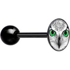 Black White Owl Black Barbell Tongue Ring