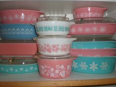 OMG gorgeous Pink & Turquoise Pyrex - rapunzelbabe on flickr