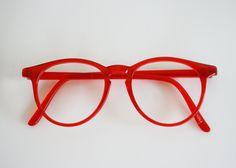 Vintage Oversize Bright Red Plastic Sally Jessy Raphael Frame Eyeglasses.
