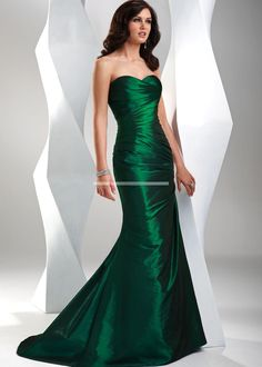 Emerald Green Formal Gowns | ... Dresses > Simple emerald green pleated taffeta A-line prom bridesmaid