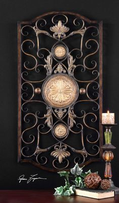 This decorative wall art is made of hand forged and hand embossed metal. The finish is distressed, chestnut with burnished edges and antiqued gold details. RUSTIC WALL DECOR. | eBay!