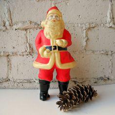 Vintage Santa Figure Plastic Standing Santa Claus by viAnneli, $22