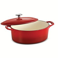 Tramontina Enameled Cast Iron Covered Oval Dutch Oven 55Quart Gradated Red ** Continue to the product at the image link.