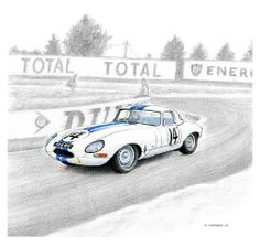The Briggs Cunnngham Team Jaguar E-Type Lightweight #14 driven in the 1963 24 heures du Mans by Augie Pabst and Walt Hansgen. This car is being celebrated at the Danville Tour d'Élégance, so this is the main artwork that I've produce for use on the event materials.  Pen&ink, markers, and pencil on watercolour paper © Paul Chenard 2014 This piece will be auctioned off at the Danville Tour d'Élégance 2014 to raise funds for Parkinson's research.