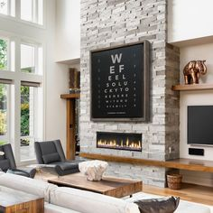 Custom Eye Chart Optometrist Gift Personalized Canvas Reclaimed Wood Frame Family Name Sign Rustic Home Decor Rustic Decor Large Wall Art Fireplace Tv Wall, Modern Fireplace, Living Room With Fireplace, Home Living Room, Living Room Designs, Living Room Decor, Fireplace Ideas, Two Story Fireplace, Linear Fireplace