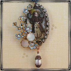 Soldered altered art pendant