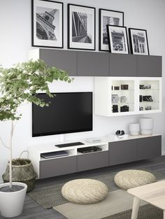 Most Polular Besta Living Room Ikea Small Living Room Ideas With Tv, Small Living Rooms, Living Room Designs, Cozy Living, Ikea Living Room, Living Room Storage, Living Room Furniture, Basement Furniture, Condo Living Room
