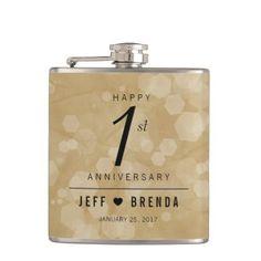 Elegant 1st Paper Wedding Anniversary Flask - anniversary cyo diy gift idea presents party celebration