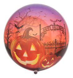 """Bubble Ballon """"Happy Halloween""""; Größe 56 cm (22""""); auf diesem Bubble Ballon vereinen sich unheimliche Gestalten und Orte, die an Halloween eine wichtige Rolle spielen."""