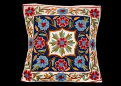 Kashmiri Embroidery Pillow Cover Indian Embroidery by ArtMela, $36.11