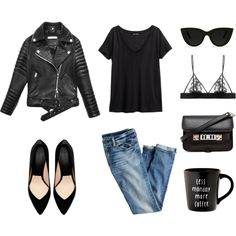 MINIMAL + CLASSIC: Leather jacket, black tee, jeans, and pointy flats. #weekendwarrior #fall