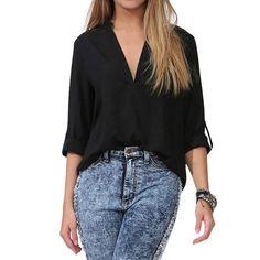 Plus Size Summer Womens Chiffon Blouse Elegant Sexy V-neck White Blouses Long Sleeve Office Ladies OL Shirt Women Clothing