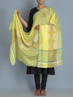 Yellow Chanderi Zari Phool Patti Chikankari Embroidered Dupatta