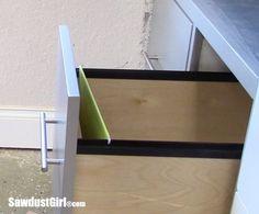 File Folder Drawer for Hanging Files - Sawdust Girl® Diy Furniture Drawers, Cabinet Furniture, Woodworking Router Bits, Sawdust Girl, Hanging File Folders, Hanging Files, Wall Entertainment Center