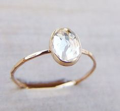 Best Diamond Engagement Rings : white topaz and gold ring - 19 more ideas for affordable, minimalist rings on th. - Buy Me Diamond Dainty Gold Rings, White Topaz Rings, Yellow Gold Rings, Rose Gold, Ruby Rings, White Gold, Handmade Engagement Rings, Antique Engagement Rings, Gold Engagement Rings
