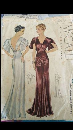 McCall 8476 by Patou | ca. 1935 Ladies' & Misses' Evening Dress