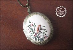Bird Picture Locket 2 Photo Locket Christmas by VintageFloralJewel