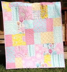 Pretty Pink Baby Girl Quilt Modern Flowers Nursery Crib Cot Bedding Décor by SunnysideDesigns2, $159.00