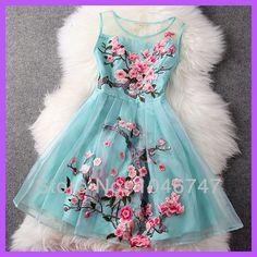2014 primavera marca moda feminina vestido tanque do vintage doce bordado manual água de flor azul / preto / damasco de seda organza