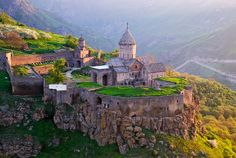 Monastery of Tatev, Armenia.  built in the 8th century atop a plateau