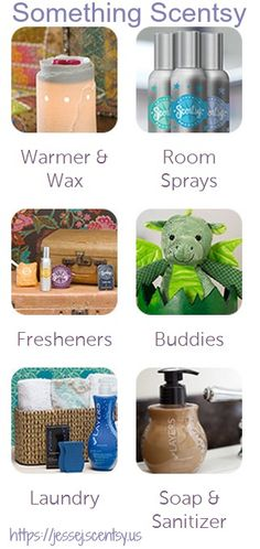 There's Something Scentsy for everybody.  Warmers & Wax, Room Sprays, Freshners, Scentsy Buddies, Laundry, Soap & Sanitizer