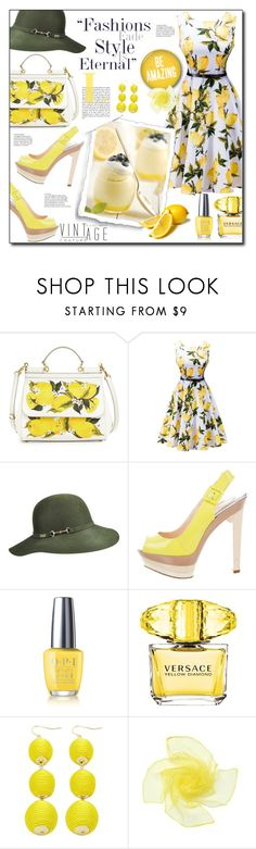 """""""When life gives you lemons..."""" by ela79 ❤ liked on Polyvore featuring Dolce&Gabbana, WithChic, Betmar, Christian Louboutin, OPI, Versace and vintage"""