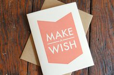 Make A Wish Letterpress Card by cottonflowerpress on Etsy, $4.75