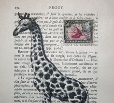 Giraffe Print Collage on Vintage French Book Page with African Postage Stamp
