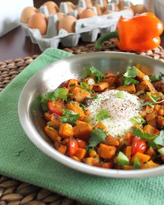 Sweet Potato Hash. Made this for dinner tonight and it was amazing! I added a jalepeno for an extra kick :)