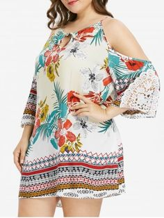 Find sales on Keyhole Neck Plus Size Floral Print Dress and other deeply discounted products at Shop Scenes. Plus Size Dresses, Plus Size Outfits, Cute Dresses, Summer Dresses, Plus Size Womens Clothing, Plus Size Fashion, Lace Sleeves, Dresses With Sleeves, Linen Dresses