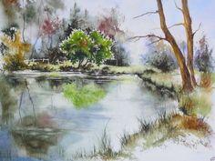 Art Aquarelle, Watercolor Pictures, Watercolor Landscape Paintings, Watercolor Canvas, Ink Painting, Watercolor And Ink, Landscape Art, Watercolor Ideas, Art Graphique
