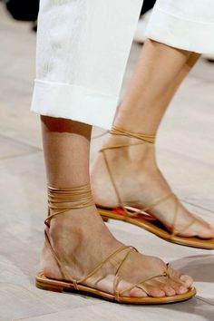 cropped white pants & lace up leather sandals #style #shoes #fashion #summer