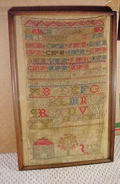 1828 American Schoolgirl Sampler, Homespun Linen, Americana Antiques, Etsy