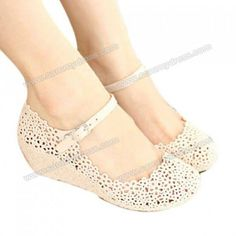 Casual Women's Wedge Shoes With Openwork and Solid Color Design $8.57