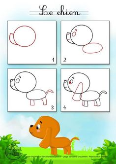 Trendy Origami Dog Sketch Ideas - Image 10 of 24 Drawing Lessons For Kids, Drawing Tutorials For Kids, Easy Drawings For Kids, Art Lessons, Art For Kids, Doodle Drawings, Cartoon Drawings, Doodle Art, Animal Drawings