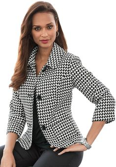 Cropped Twill Blazer   Plus Size Suits & Sets   OneStopPlus